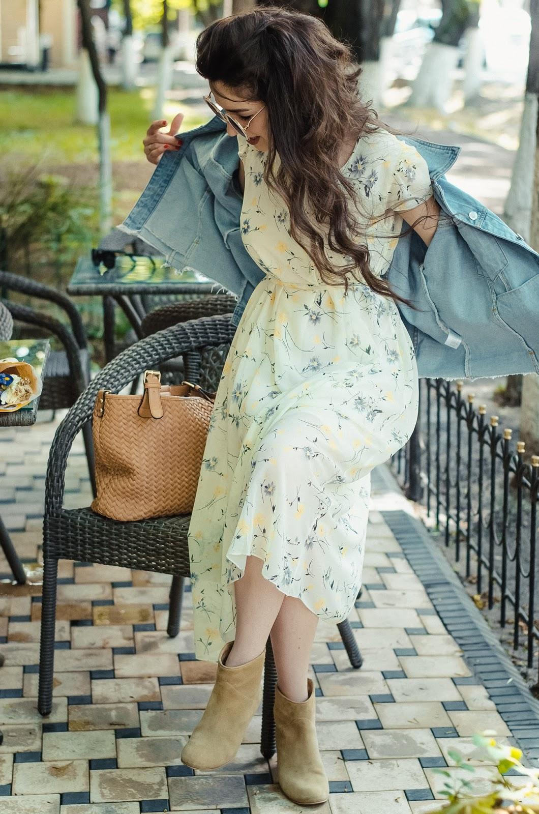 fashion blogger diyorasnotes diyora beta midi dress feminine outfit lookoftheday denim jacket