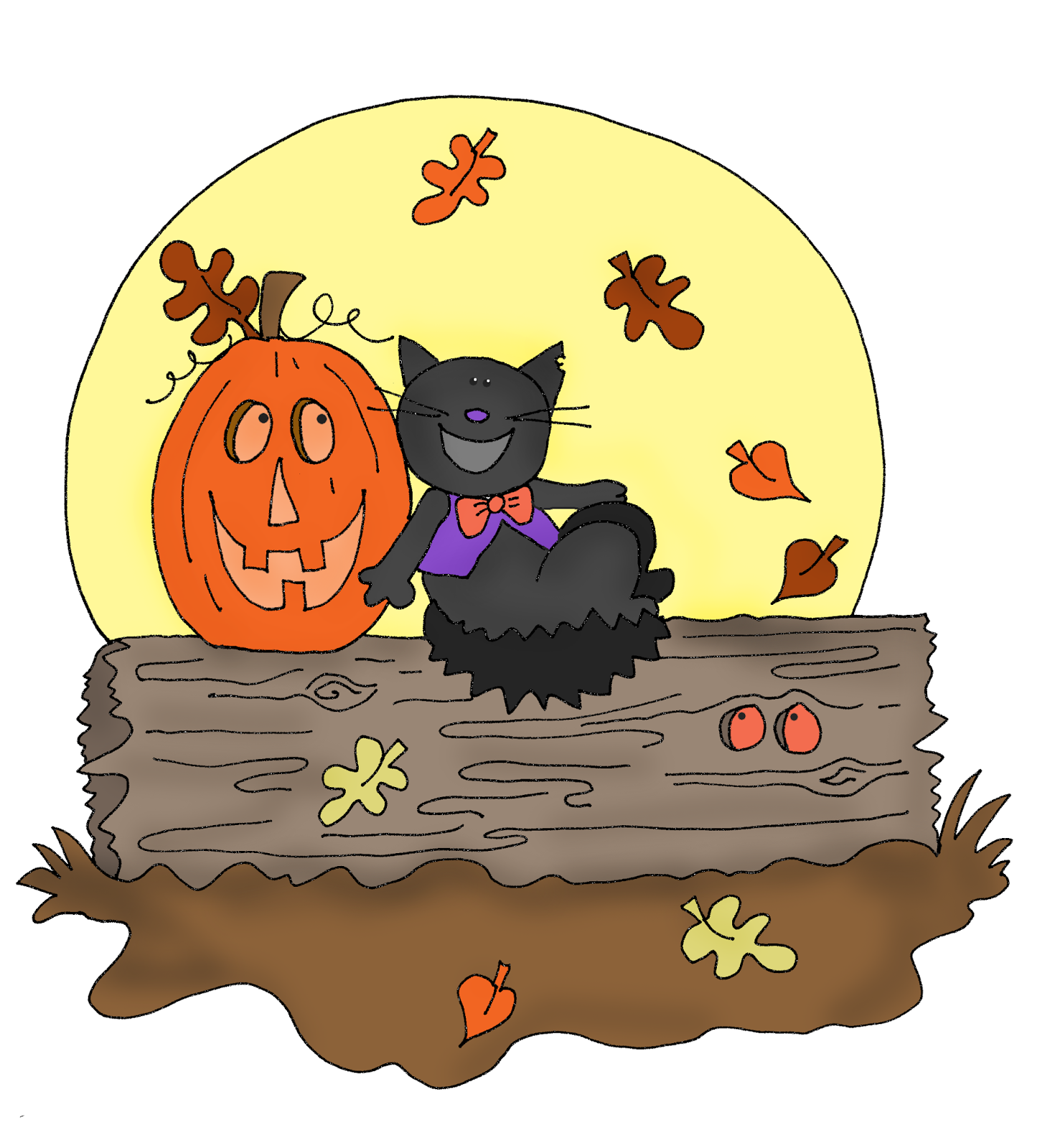 Halloween Pumpkin And Black Cat