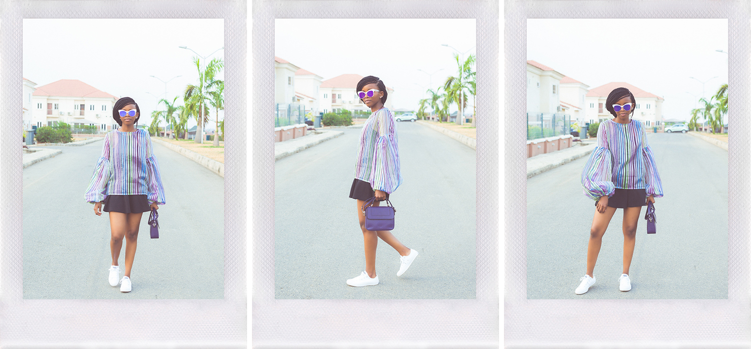 Abuja-based fashion blogger, Oroma Roxella Rukevwe (of www.orrblog.net) styling a Fashpa organza top.