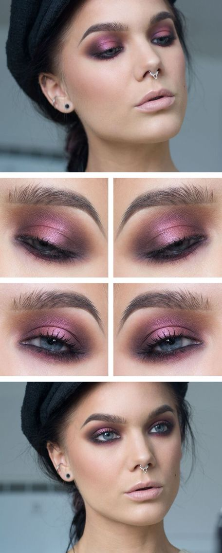 cool purple smokey eyes makeup