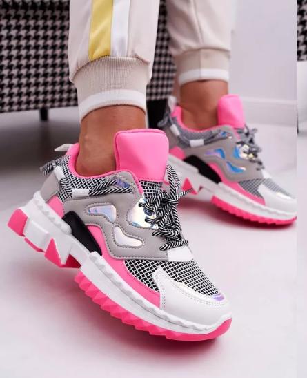 Sneakersi dama Fucsia ieftini de primavara cu talpa groasa 2020