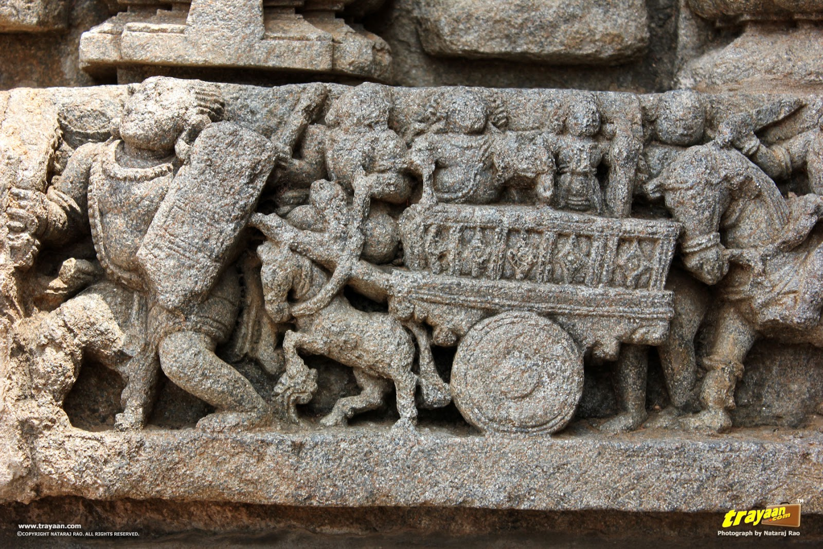 Horses and chariots sculptures on outer walls of Keshava Temple, Somanathapura, Mysore district, Karnataka, India