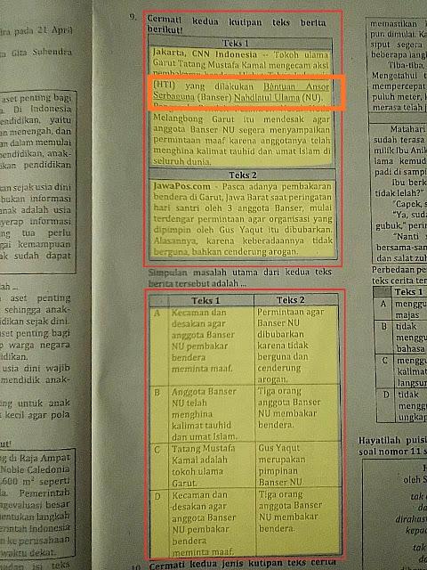 Beredar Naskah UASBN Beraroma Bela HTI Pojokkan NU dan Banser