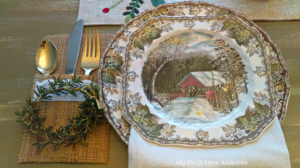 vintage evergreen tablescape and rosemary mini wreaths