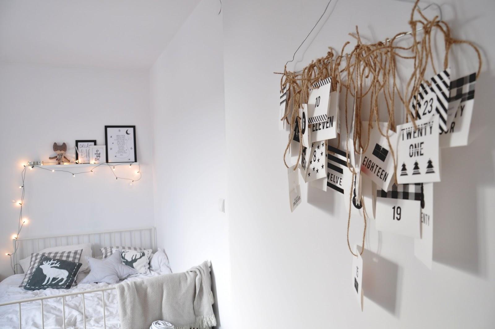 półka Ribba ikea, łóżko leirvik ikea, poszewki łosie, kalendarz adwentowy