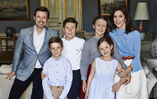 Crown Princess Mary wore VICTORIA BECKHAM flare sleeve knot blouse. Prince Christian, Princess Isabella, Prince Vincent and Princess Josephine
