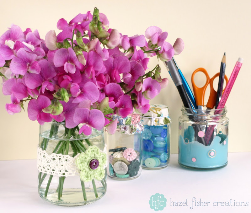Upcycling Jars DIY ideas, flower vase - hazelfishercreations