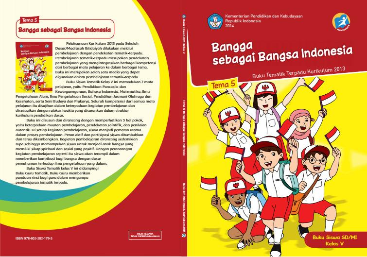 Download Buku Tematik Kurikulum 2013 SD/MI Kelas 5 Tema 5 Bangga sebagai Bangsa Indonesia Edisi Revisi Format PDF
