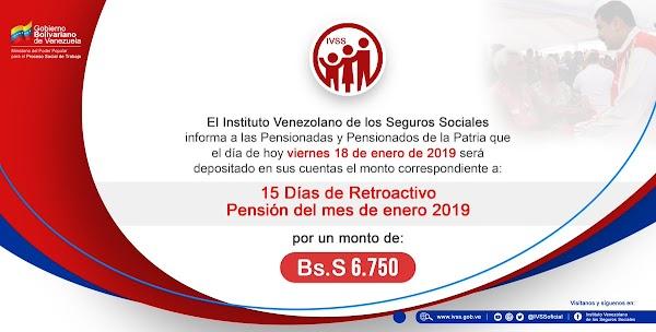 Aviso Oficial IVSS: Pago de retroactivo correspondiente a 15 días de #Enero de 2019