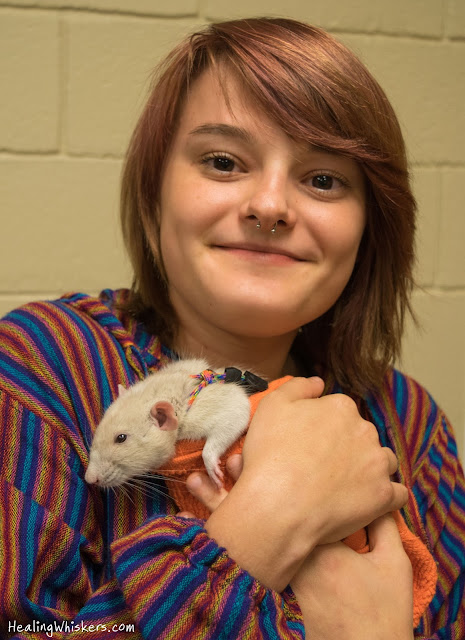 Oliver the Therapy Rat at the Academic Support Center at Berry College