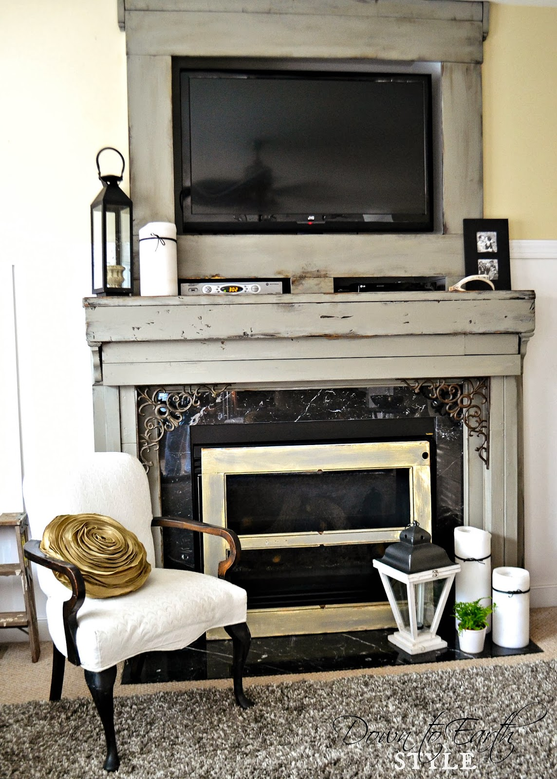 Down to Earth Style: Painted & Chunky Fireplace Mantel