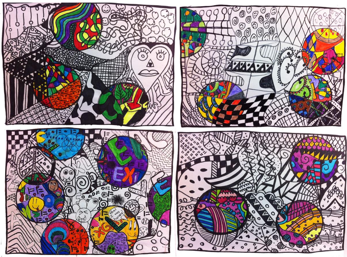 Artisan Des Arts Black And White Colored Doodles