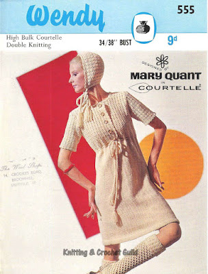 1960s vintage crochet pattern; 1960s vintage knitting pattern; Wendy; Mary Quant; cream short-sleeved dress, bonnet & knee socks