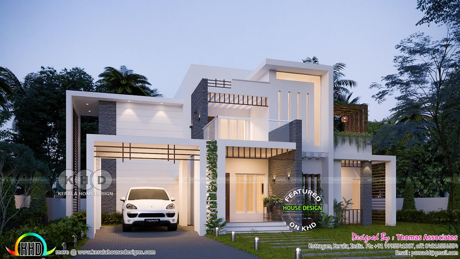 Box Model 186 Sq M Contemporary House Plan Kerala Home
