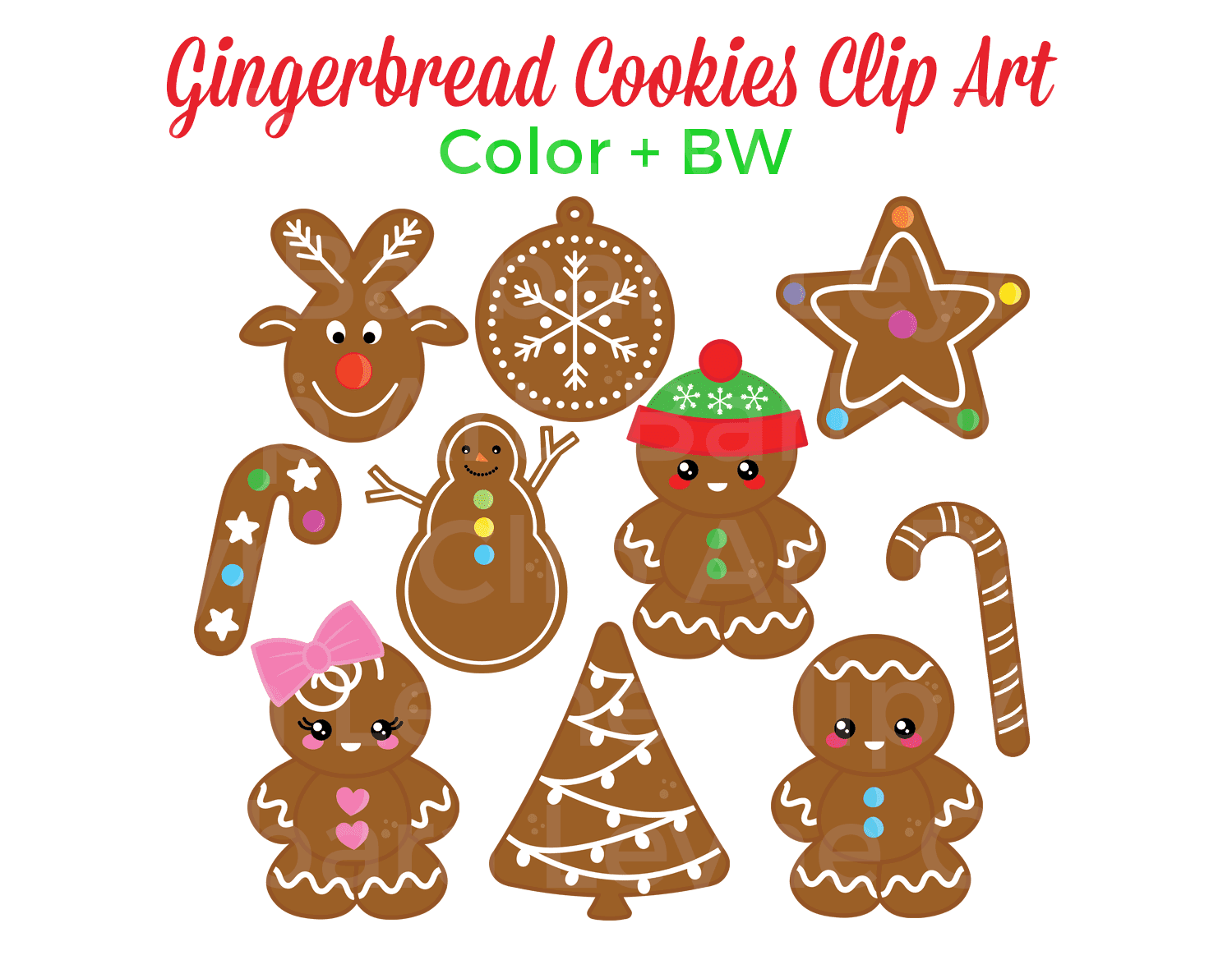 Super sweet gingerbread cookies clip art. Only $3 on TpT and Etsy. There are 10 colour and 10 bw images plus a bonus girl! #christmas #clipart #christmasclipart #gingerbread