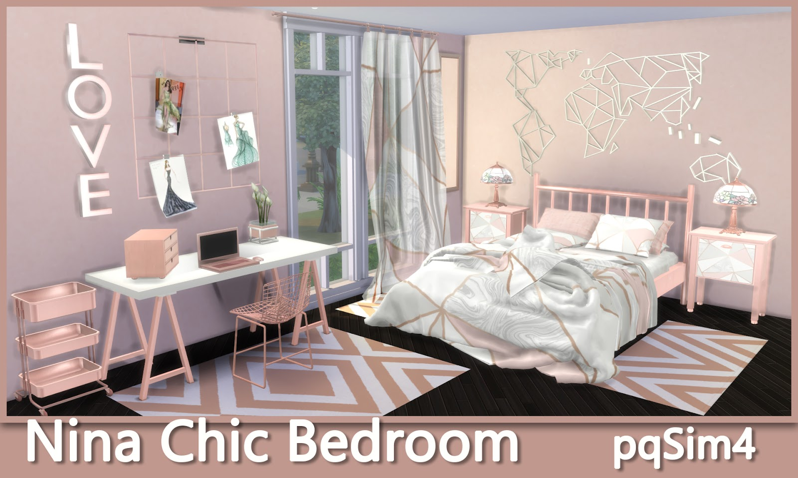 Sims 4 CC\'s - The Best: NINA CHIC BEDROOM by pqsim4