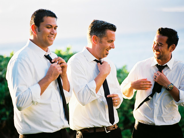 groom and groomsmen at merrimans restaurant kapalua