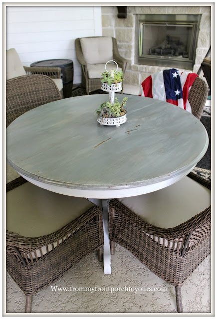 covered back porch-wicker dining chairs-round dining table- from my front porch to yours