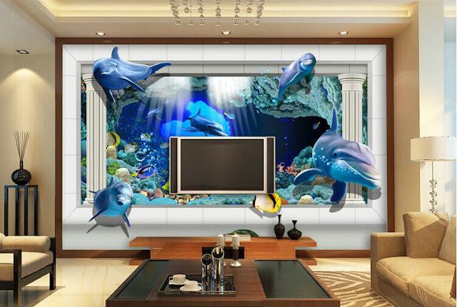 tranh tường cá heo phòng khách bình dương