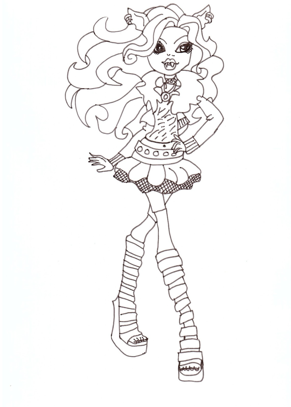Free Printable Monster High Coloring Pages: Clawdeen Wolf