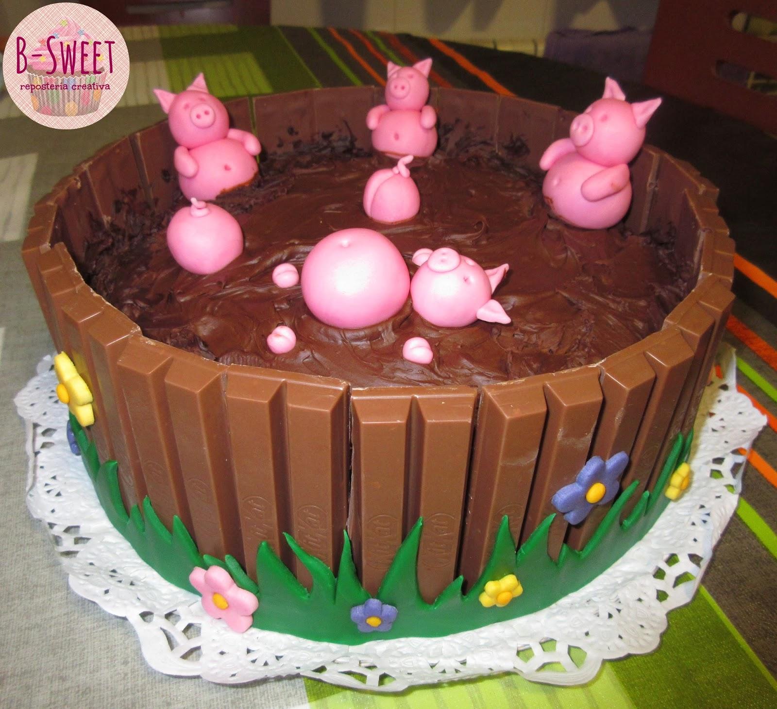 B Sweet Repostería Creativa Tarta De Cerditos En El Barro Con Kitkat
