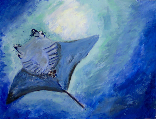 Painting of a Manta Ray by Ellis Derkx
