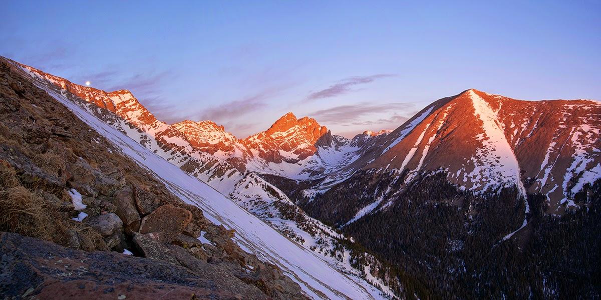sunrise over the Crestone Group with Humboldt peak broken hand peak from marble mountain sangre de cristo range colorado