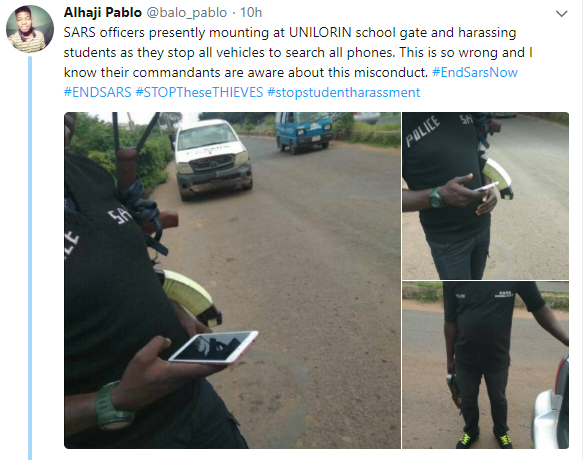 SARS officers harasses UNILORIN student as they create checkpoint at the school's gate