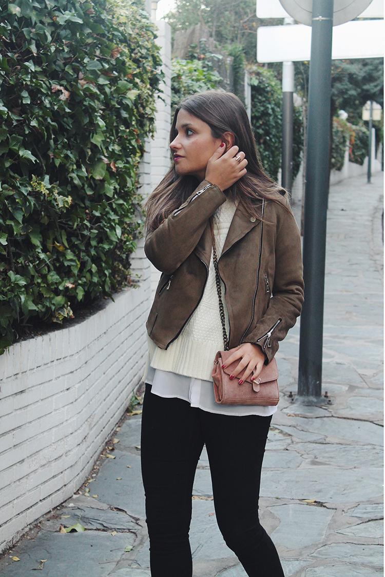 Outfit con biker verde blog de moda