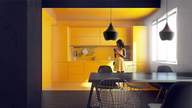 полностью желтая кухня