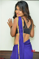 Actress Priya in Blue Saree and Sleevelss Choli at Javed Habib Salon launch ~  Exclusive Galleries 019.jpg