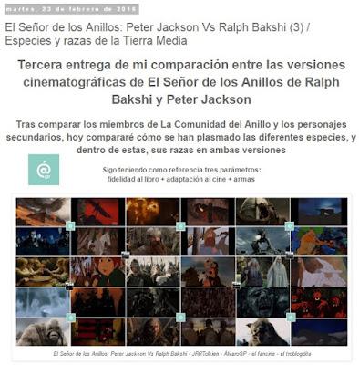 Lo + leído en el troblogdita - febrero 2016 - ÁlvaroGP - Álvaro García - El Señor de los Anillos: Peter jackson Vs. Ralph Bakshi / Especies y razas de la Tierra Media