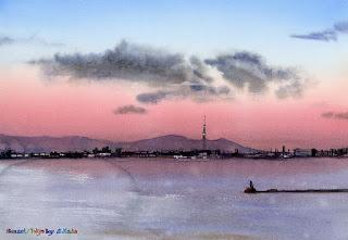 水彩画 東京湾夕景 Watercolor Sunset Tokyo Bay