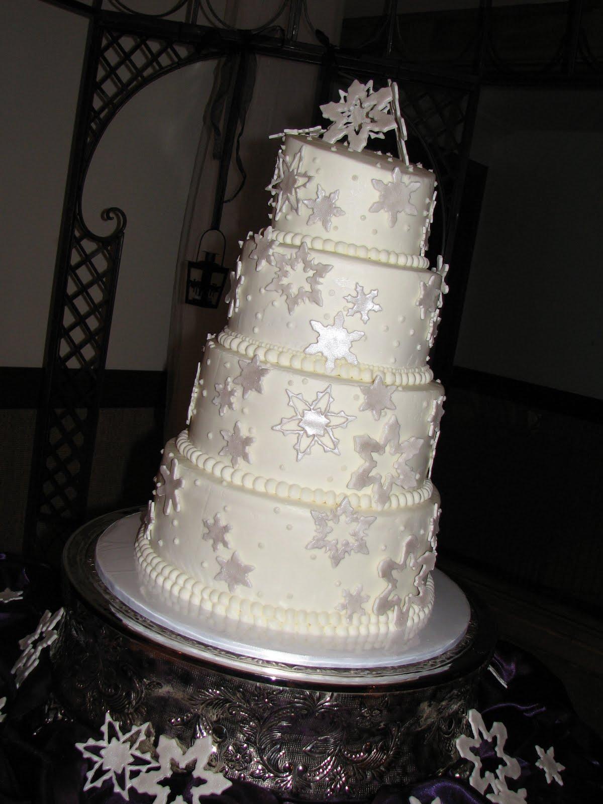Winter Snowflakes Wedding Cake