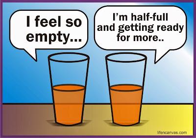 half empty and half full glasses
