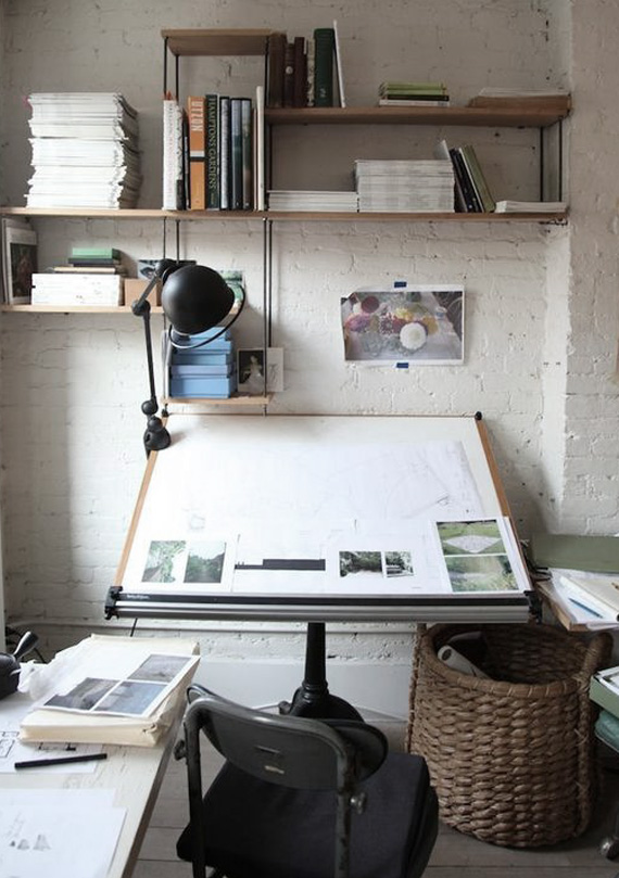 work space, white painted brick wall
