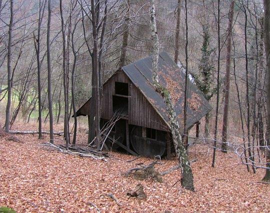 Opustoszały drewniany budynek w dole zbocza.
