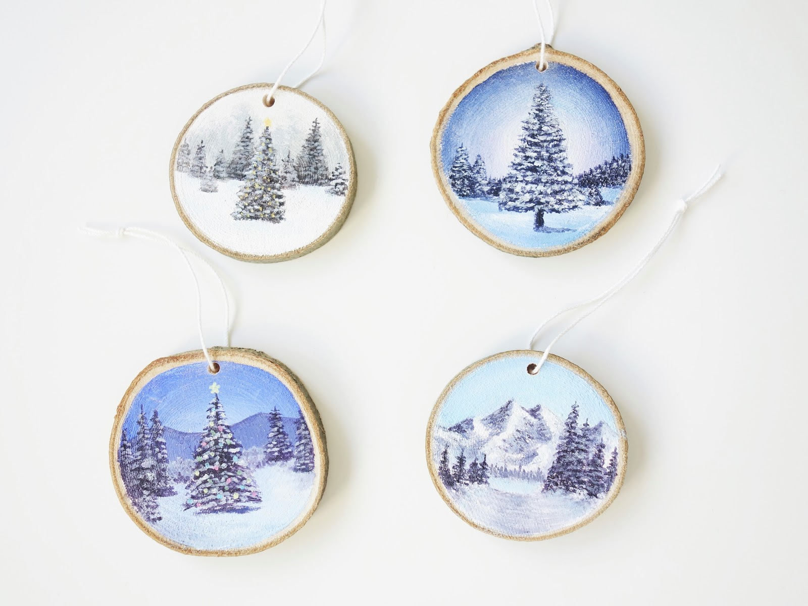 Always Arty Painted Wood Slice Christmas Decorations