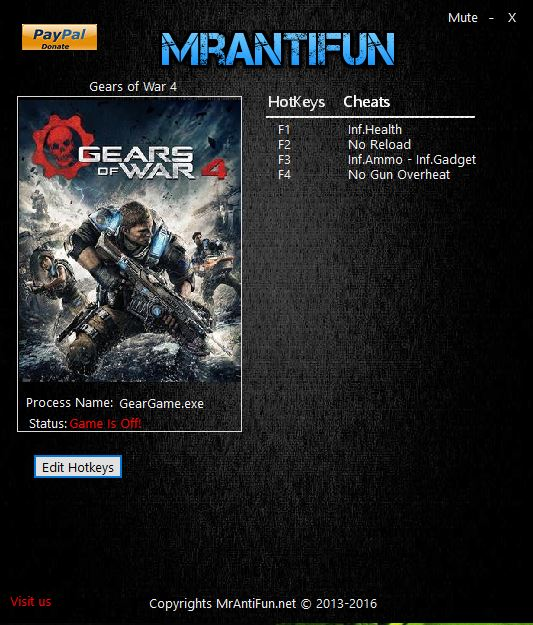 Gears of War 4 PC Trainer MrAntiFun update Munição Infinita