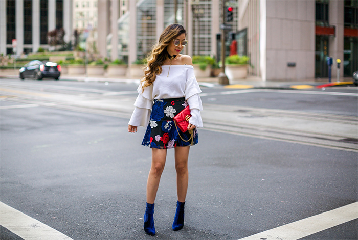 endless rose Off Shoulder Tiered Sleeve Top, off shoulder ruffle sleeve top, gucci marmont wallet on the chain, gucci marmont bag, Devlin Embroidered Miniskirt, steve madden velvet ankle booties, quay sunglasses, baublebar choker necklace, san francisco street style, san francisco fashion blog