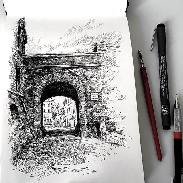 10-Stone-Arch-sketches-Asmik-Babaian-www-designstack-co