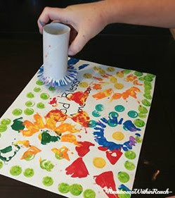 Preschool Art Process Painting for Patriotic Fireworks