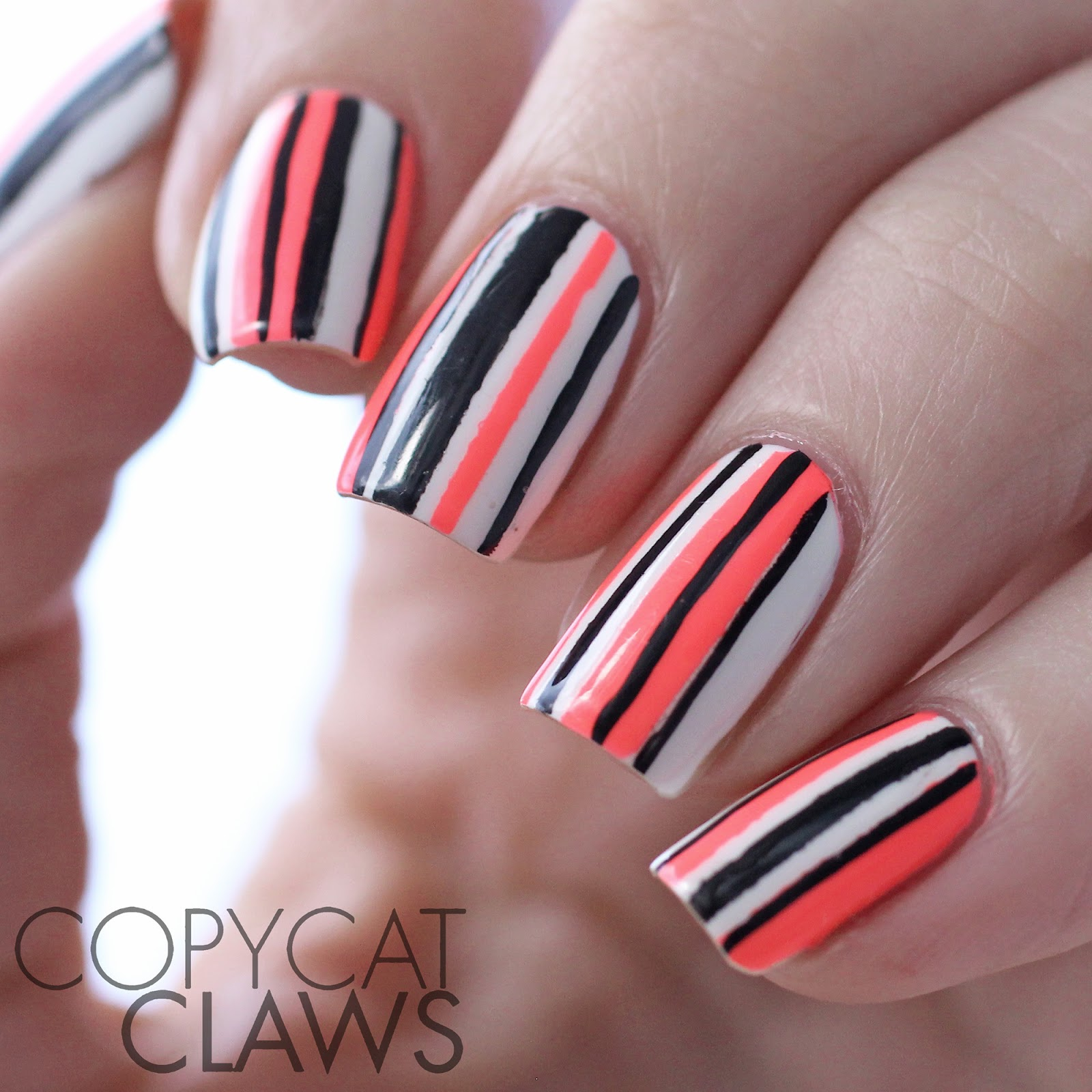Copycat Claws: Neon Striped Nail Art