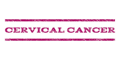 "The words ""cervical cancer"" written across a pink banner."