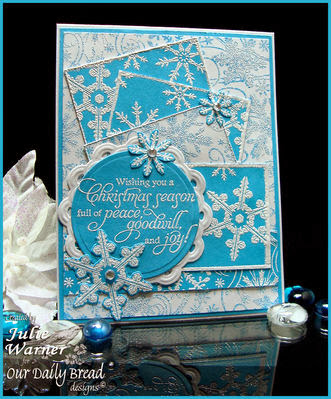 ODBD Products:  Snowflake Background, Sparkling Snowflakes, ODBD Custom Snowflakes Die, Christmas Blessings