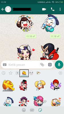 Stiker Emoji Emotikon Bertema MLBB pada Whatsapp Apps