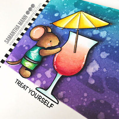 Treat Yourself Card by Samantha Mann for Create a Smile Stamps, Copic Markers, Copics, Coloring, Distress Inks, Ink Blending, Treat Yourself, Cards, Handmade Cards #createasmile #stamping #clearstamps #cards #distressinks #inkblending #copics #copicmarkers