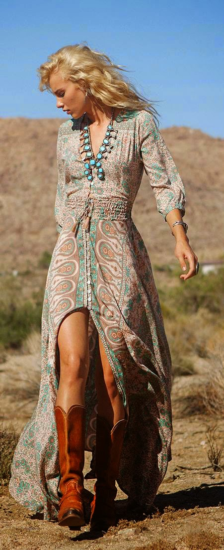 Fashion Trends Springsummer Boho Dress Teal Necklace Cowboy