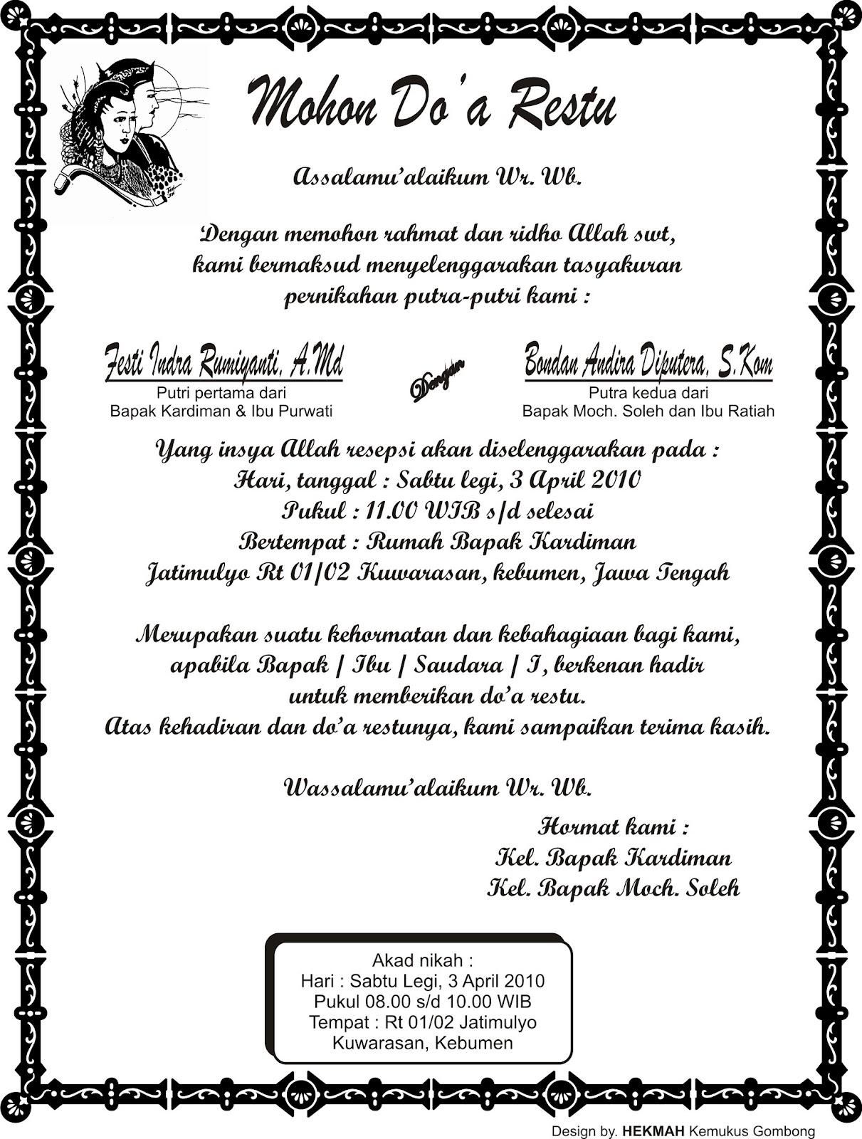 Aneka info: Contoh Ucapan Tasyakuran Pernikahan