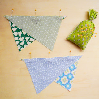 pinning, pin cushion, lavender pin cushion, quilting, triangle piecing